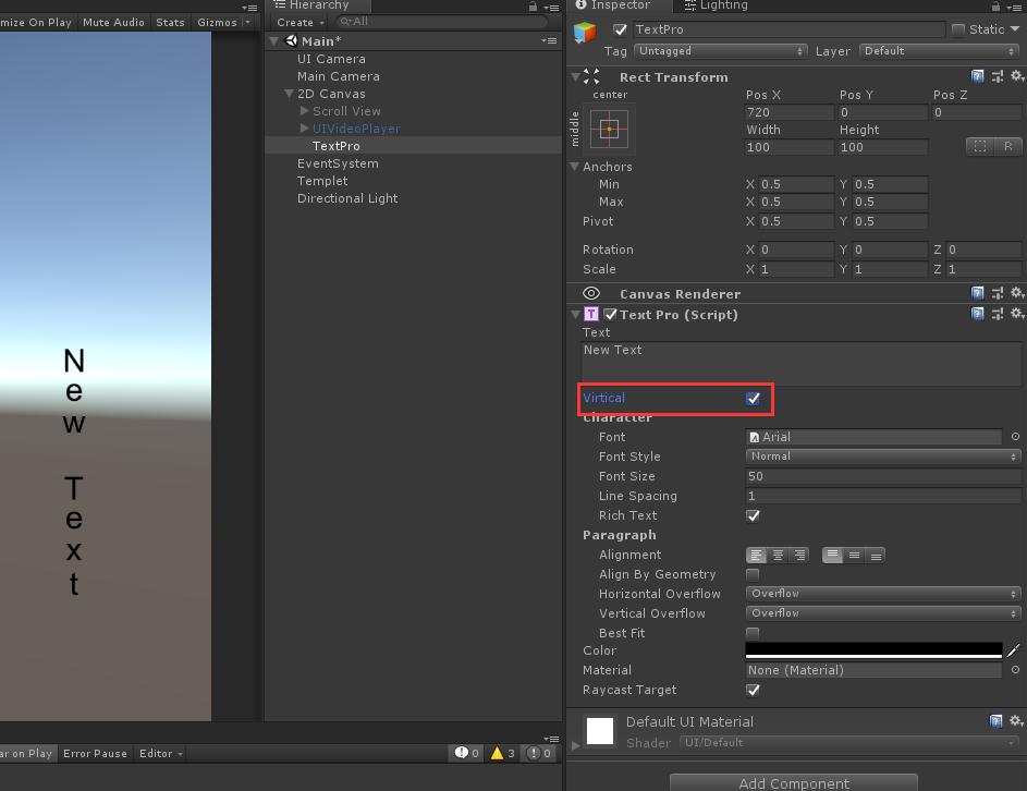 Unity3D:UGUI TextPro文本竖排显示文字 - 第2张  | 大腿Plus